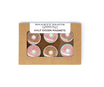 half dozen mini donut magnets with pink and chocolate frosting and sprinkles