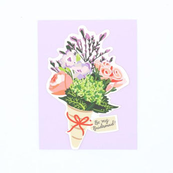 die cut floral bouquet will you be my bridesmaid bridal greeting card weddings
