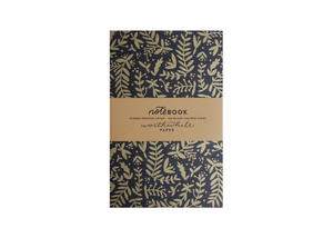 black notebook with gold leaves screen printed worthwhile paper