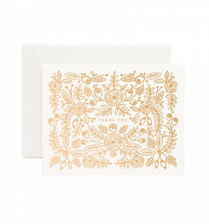 gold foil floral pattern thank you can on white boxed set of 8