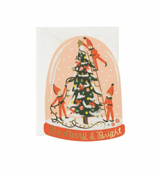 christmas snow globe greeting card with elves christmas tree lights and snow