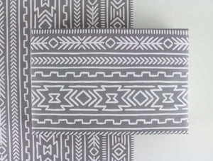 grey ad white boho aztec tribal mudcloth pattern wrapping paper