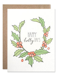 holly wreath happy holidays greeting card pun