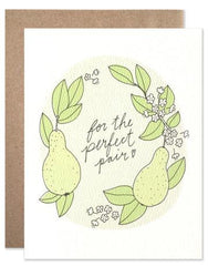 for the perfect pair wedding card with kraft envelope pear illustration