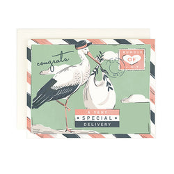 congrats on a very special delivery bundle of joy stork and baby postcard style folded greeting card