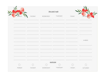 white meal planning menu pad with red flowers simple design with exercise tracker