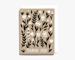 black and white wild flowers screen printed thank you card kraft recycled paper