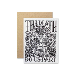 til death do us part mexican skull with roses card