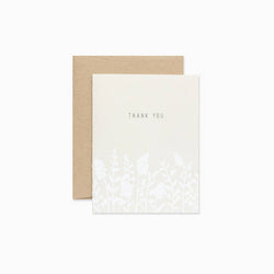 thank you simple minimal boxed set of cards with white wildflowers