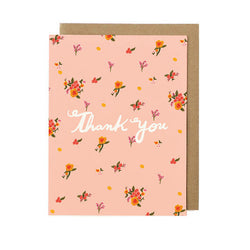 thank you card pink with pink bouquets of flowers from the bride wedding thank you