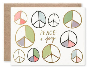 colorful peace signs with gold foil greeting card peace and joy boxed card set