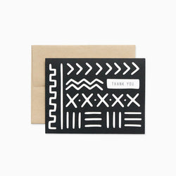white on black mud cloth thank you greeting card die cut