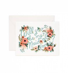 will you be my maid of honor, rifle paper co, bridal greeting card for wedding party