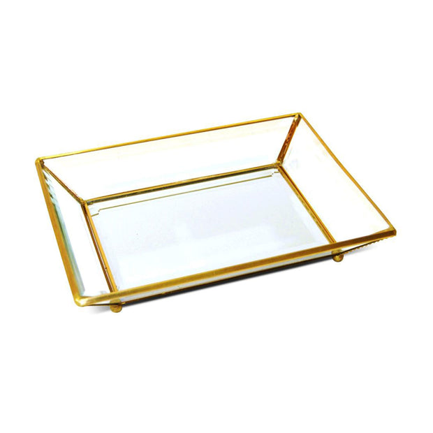 Soul & Ark Large Antique Brass Glass Tray