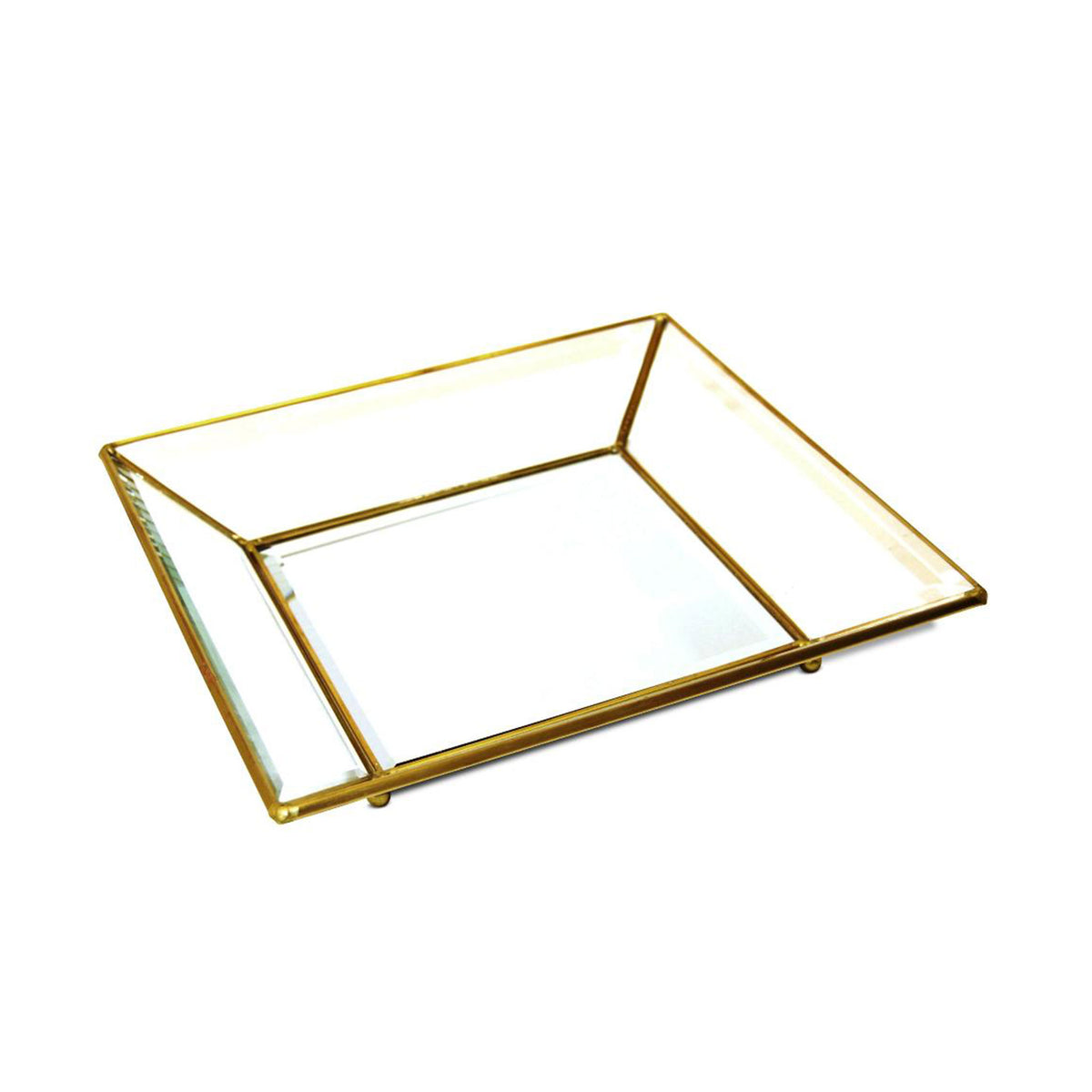 Small Antique Brass Glass Tray