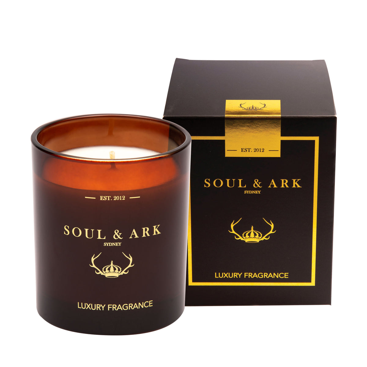Soul & Ark Amber Glass Soy Candle with Gift Box
