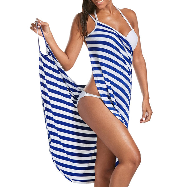 Striped Wrap Around Swimwear Dress!! 60% OFF!!
