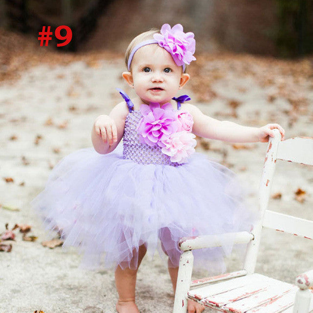 Princess Baby Rainbow Couture Tutu Dress with Flower Headband!! 60% OFF!
