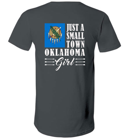 Small Town Girl Ok (Design on Back) - V-Neck