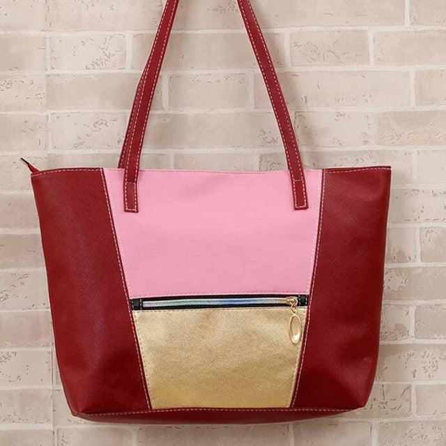 Women's  Shoulder Tote Bag - Red-Hautecouture