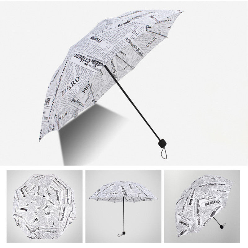 New English Newspaper Three-folding Umbrella Rain Women 3 Fold Windproof Umbrellas Fashion Polyester Folded Umbrella Men