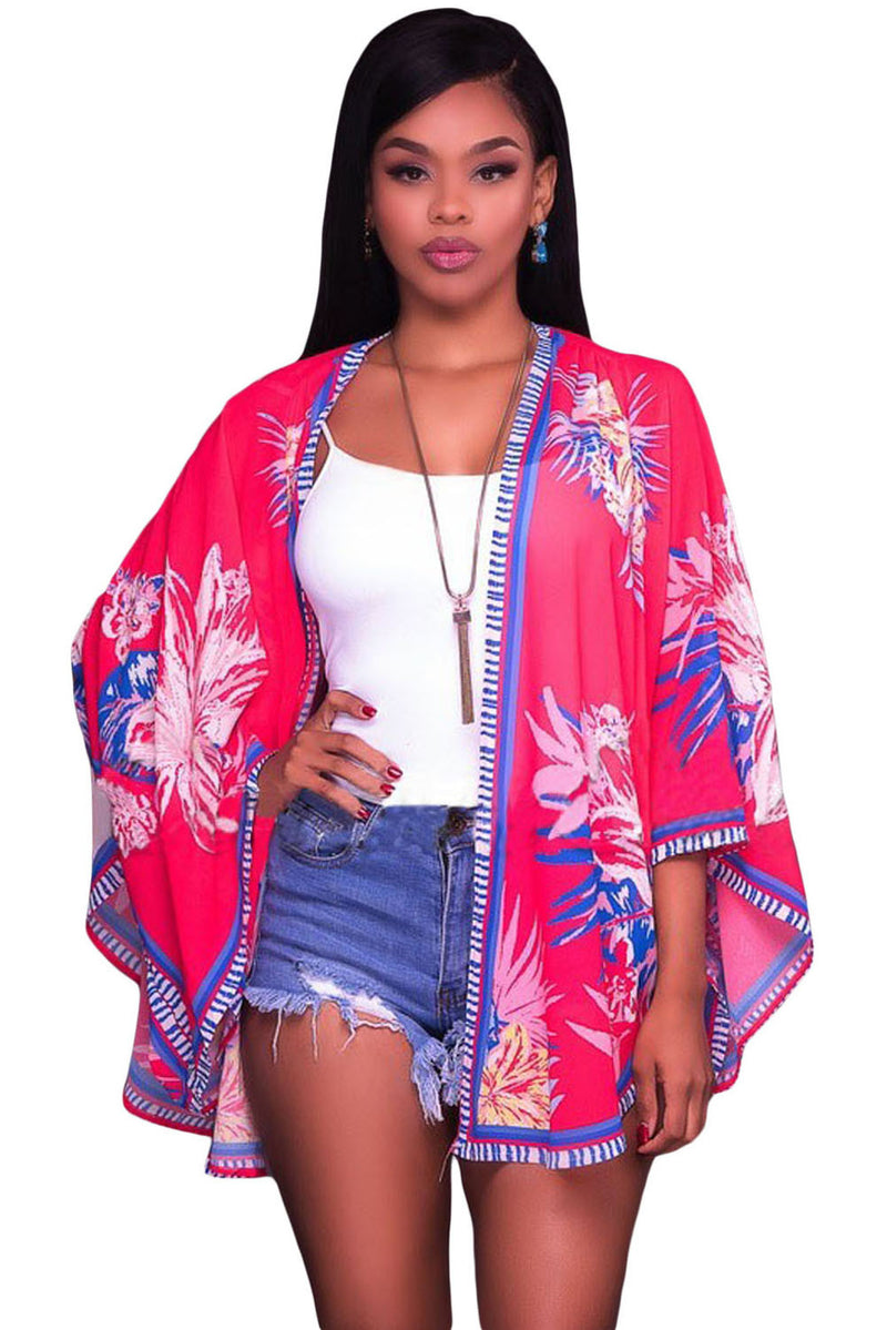 Red Lotus Floral Chiffon Kimono Beach Cover Up - Red-Hautecouture