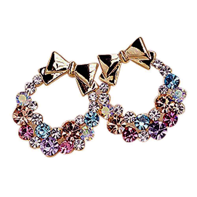Women's Multi-Colored Rhinestone Bowknot Earrings - Red-Hautecouture