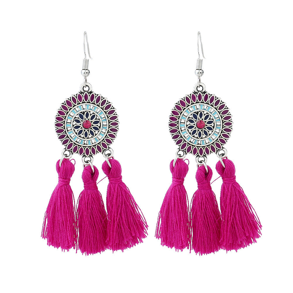 Women's Bohemian Long Tassel Earrings - Red-Hautecouture