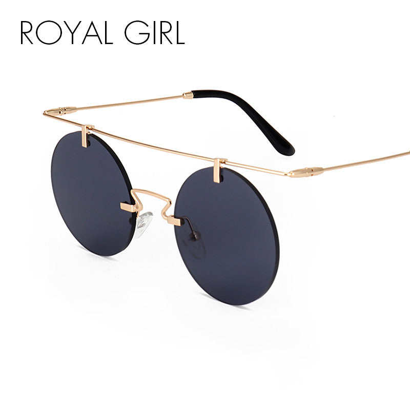 ROYAL GIRL 2017 Summer Round Sunglasses Women Rimless Shades Fashion Flat Top Female Vintage Glasses ss242 - Red-Hautecouture