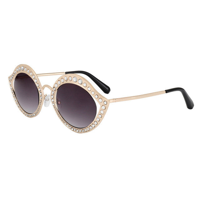 Chic Crystal Circle Sunnies - Red-Hautecouture