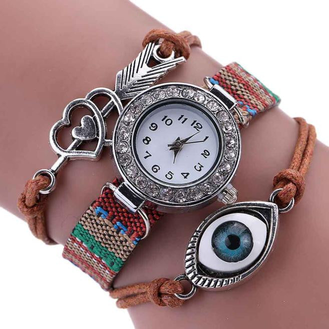 Eye Wrap Around Bracelet Watch  Crystal Synthetic Leather Chain Watch - Red-Hautecouture