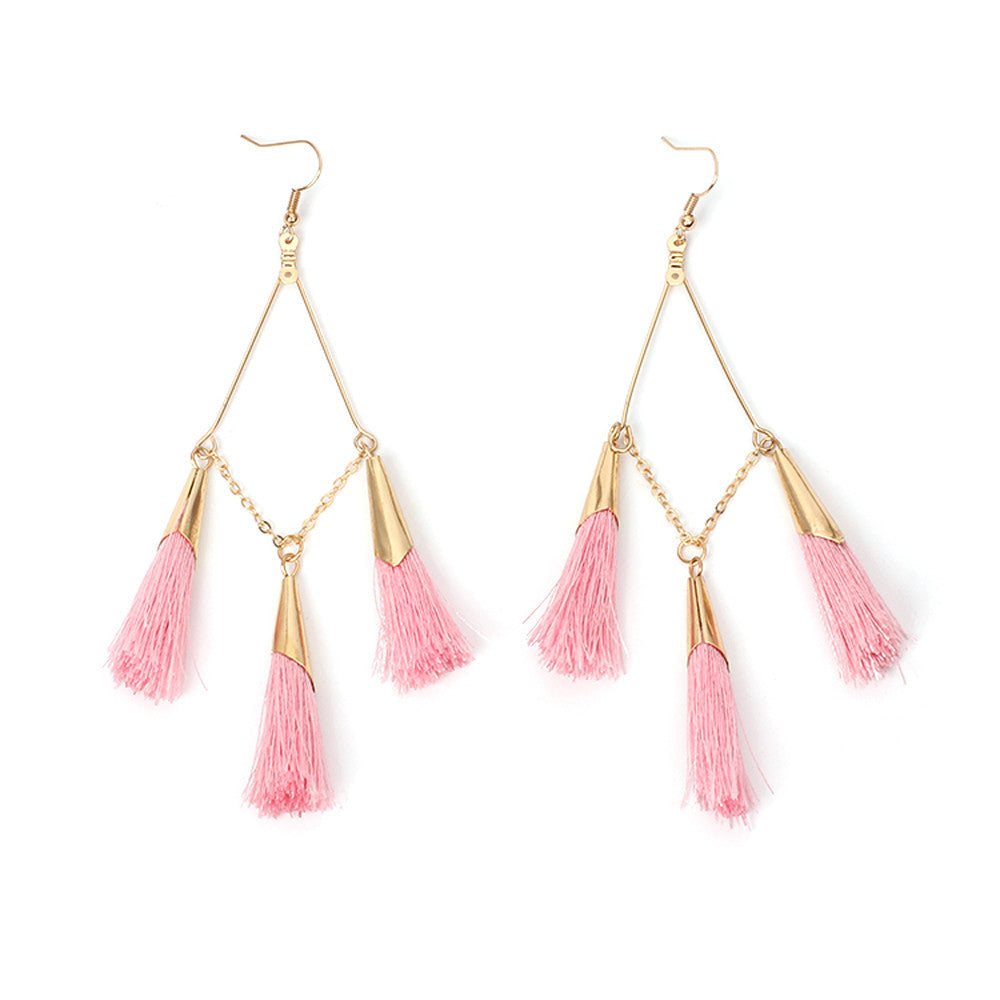 Women's Bohemian Tassel Earrings - Red-Hautecouture