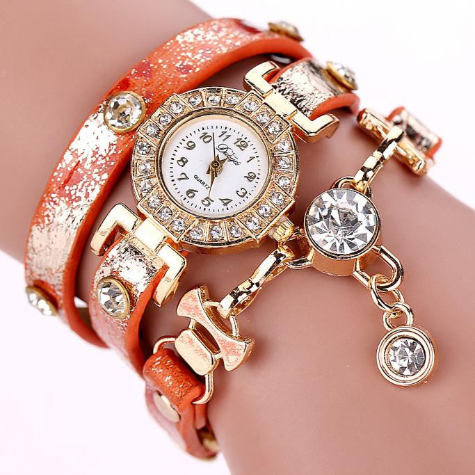 Luxury Crystal Pendant Watch Bracelet - Red-Hautecouture