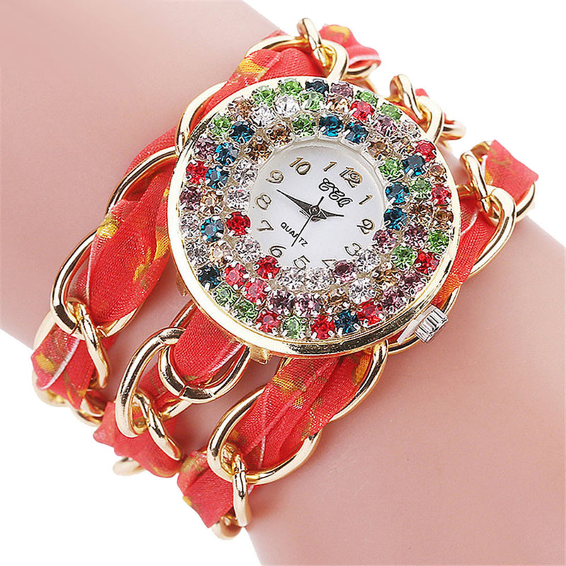 Women's Rhinestone Crystal Bracelet - Red-Hautecouture