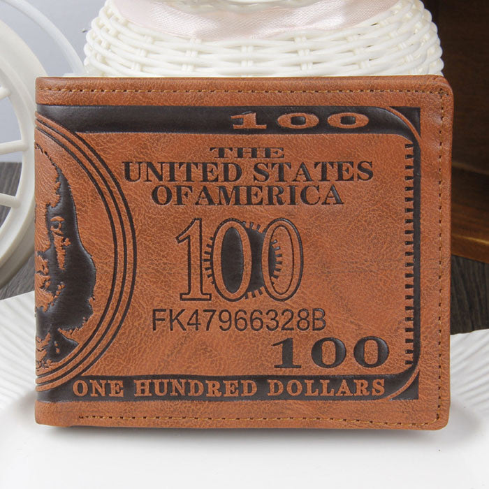 US Dollar Bill Wallet Brown PU Leather Wallet Bifold Credit Card Photo - Red-Hautecouture