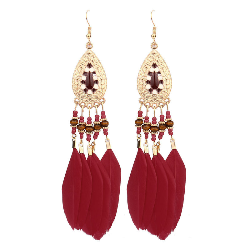 Women's Elegant Crystal Rhinestone Fashion Earrings - Red-Hautecouture