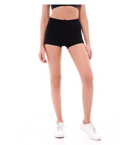 Women Biker Short Black Front View