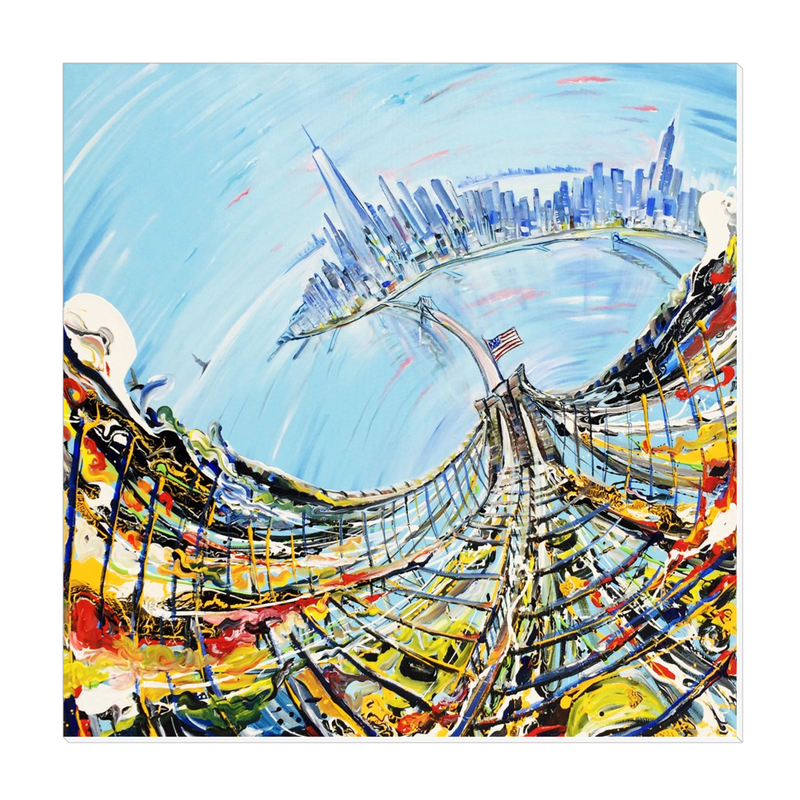 Bridge from Above Canvas Wrap - 16x16 inch