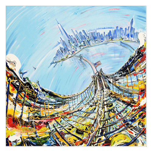 Bridge from Above Canvas Wrap - 36x36 inch
