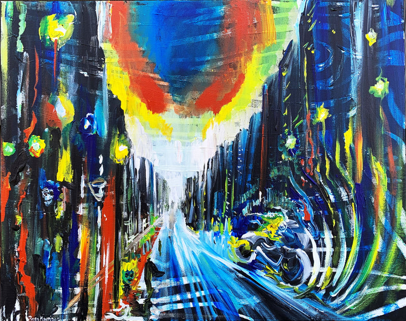 City on Fire Original Painting