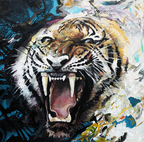 Tiger Roar Original Painting - Original Paintings