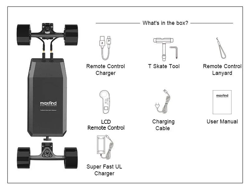 Maxfind M5 electric skateboard drive kit what in the box?