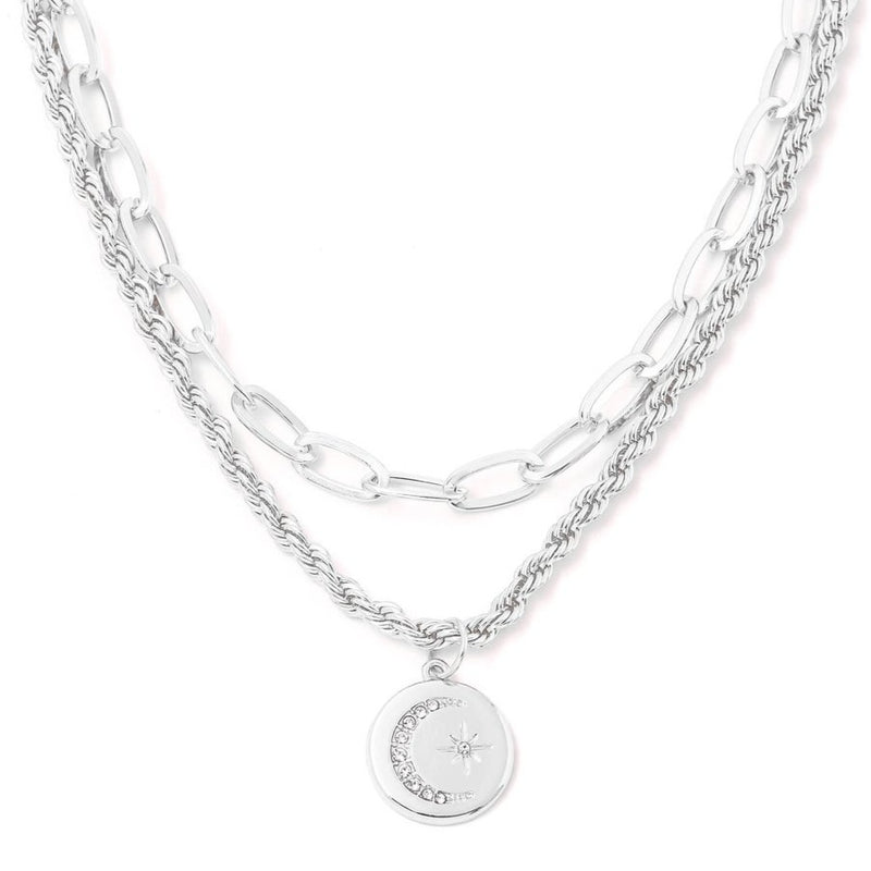 Double Chain Moon Pendant Necklace