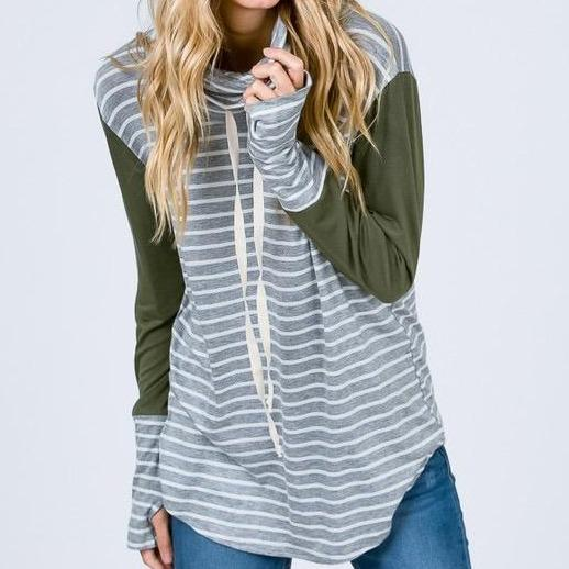 Stripes and Solids Cowl Neck