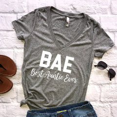 BAE Best Auntie Ever | Grey Triblend V-Neck