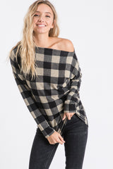 Black and Ivory Checkered Cold Shoulder Top