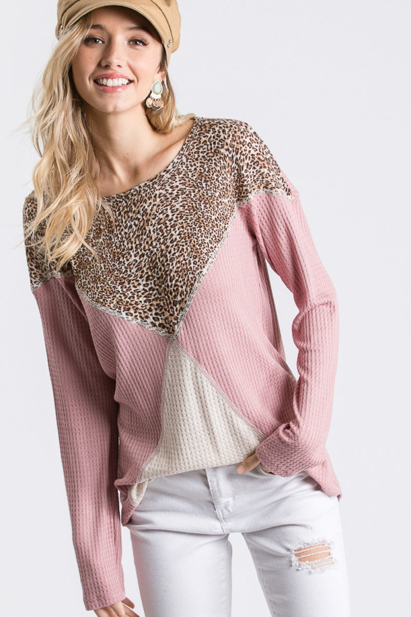 Blush Waffle Knit Color Block Top