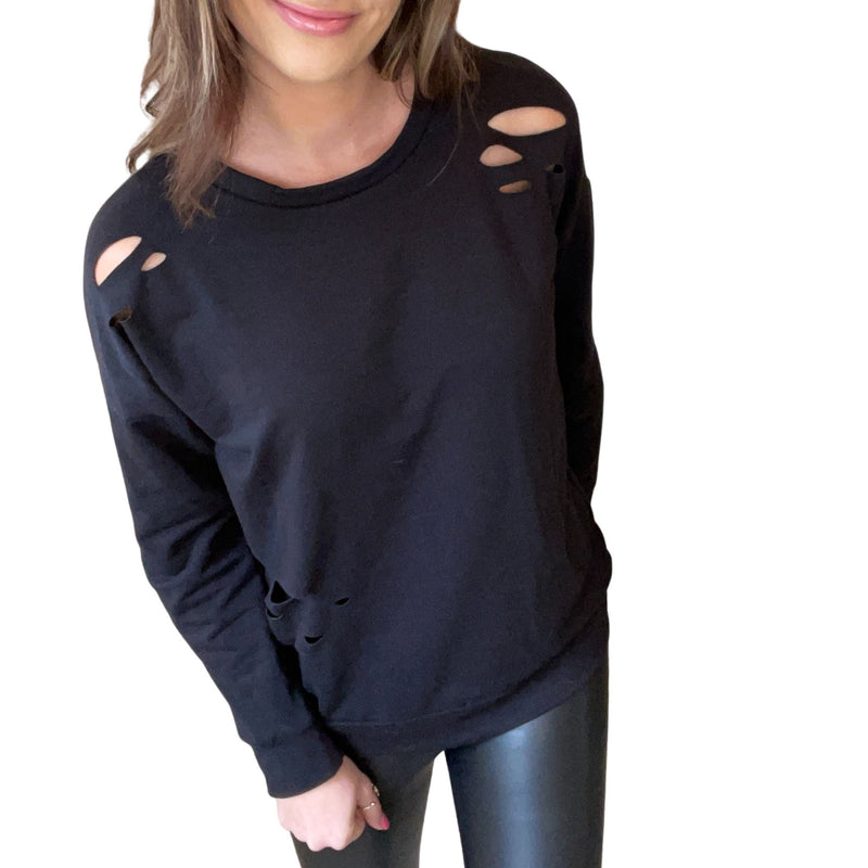 Distressed long sleeve top