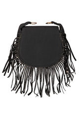 Faux Leather Fringe Crossbody Saddle Bag
