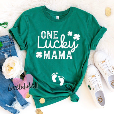 One Lucky Mama - St. Patty's Day - Pregnancy Announcement Shirt
